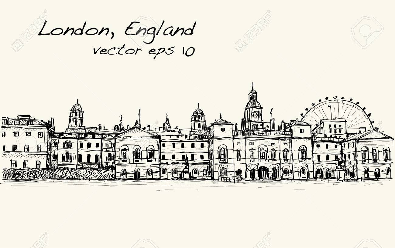 1300x818 City Scape Drawing In London, England, Show Old Castle