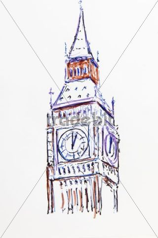 320x480 Clock Tower, Big Ben, London, England, Great Britain, Drawing By