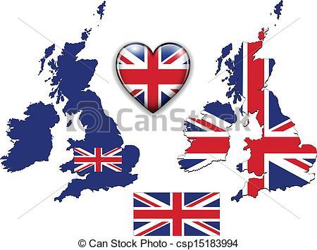 450x355 England Uk Flag, Map. United Kingdom, England Flag, Map And Eps