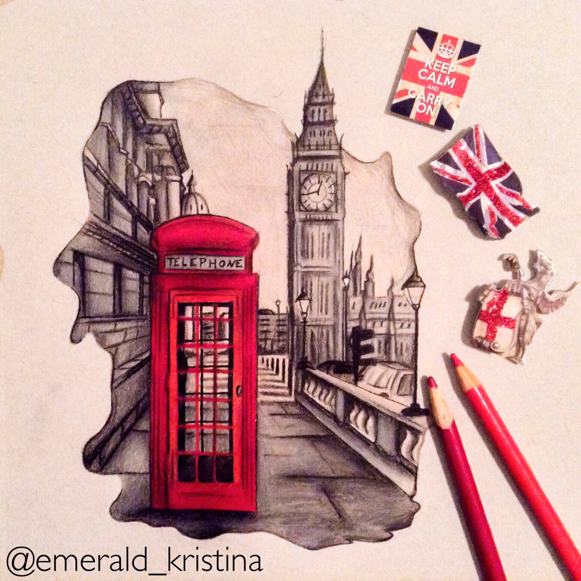1136x1136 London, England Colour Pencil Drawing On Toned Tan Paper