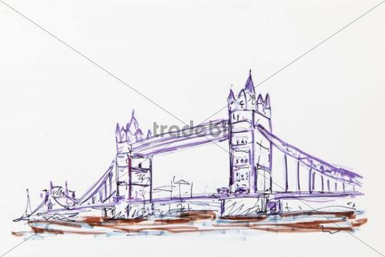 540x360 Tower Bridge, London, England, Great Britain, Drawing By Gerhard Kr