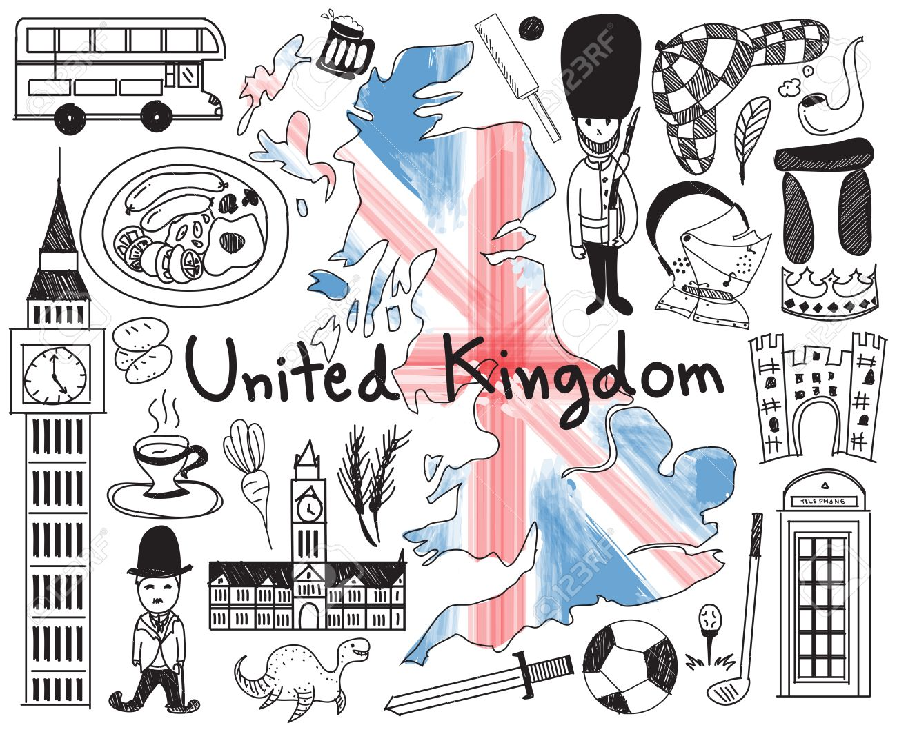 1300x1061 Travel To United Kingdom England And Scotland Doodle Drawing