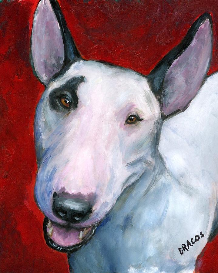 719x900 English Bull Terrier Looking Up On Red Painting By Dottie Dracos