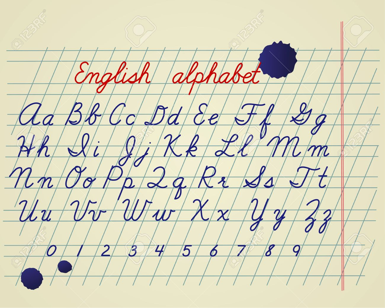 1300x1041 English Alphabet. Hand Drawing English Letters And Numbers