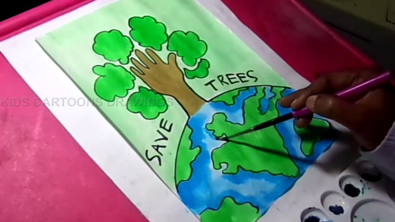 1280x720 How To Draw Save Trees And Earth Environment Drawing For Kids