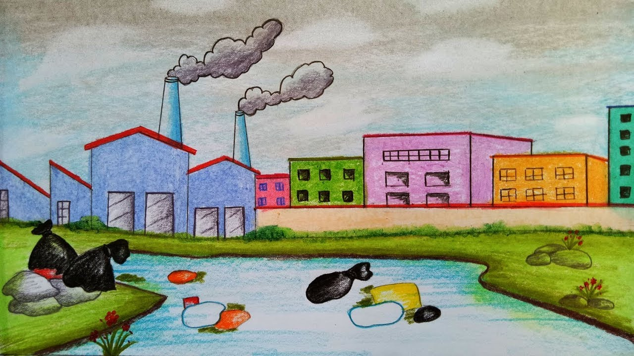 1280x720 How To Draw Scenery Of Environmental Pollution.step By Step(Easy