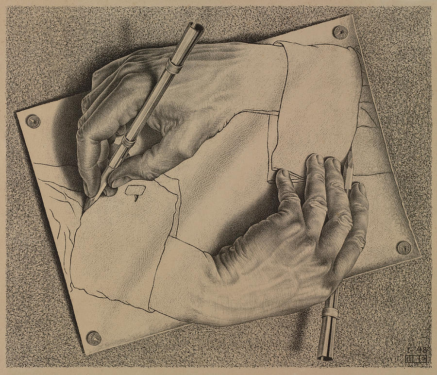 900x772 Drawing Hands Painting By Maurits Cornelis Escher