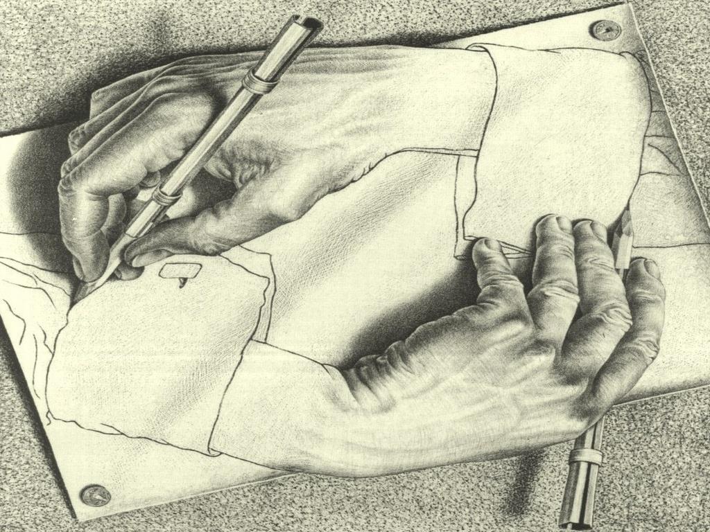 1024x768 Hands Sketches Illusions Mc Escher Drawings Tool Pencils