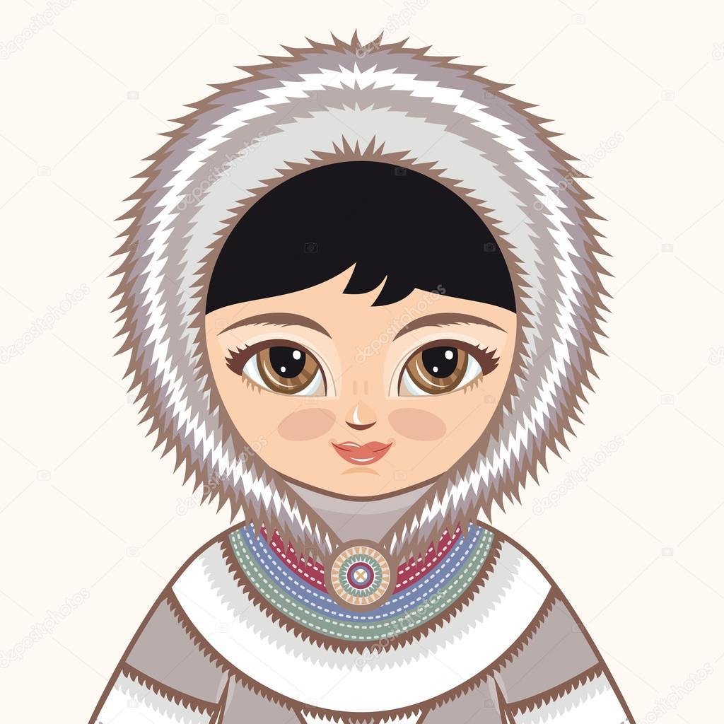 1024x1024 Eskimo Clothes. North Girl. The Girl In Eskimos Dress. Historical