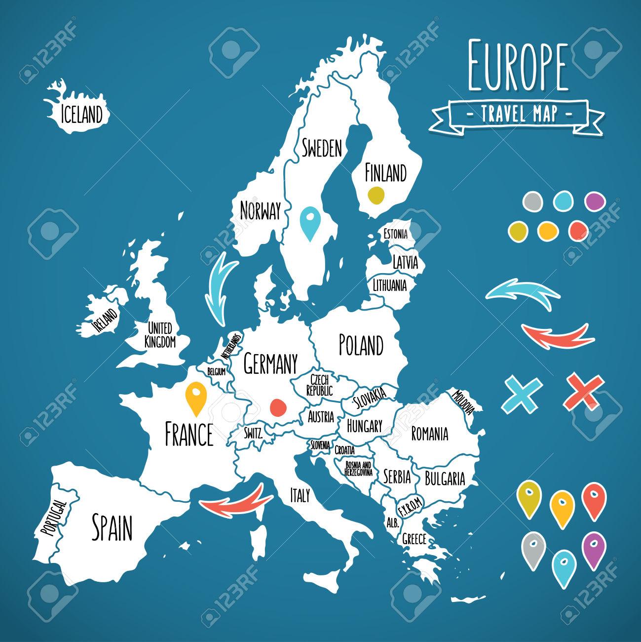 1299x1300 Hand Drawn Europe Map