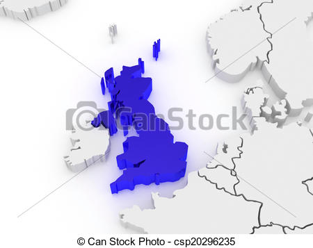 450x357 Map Of Europe And United Kingdom. 3d Drawings