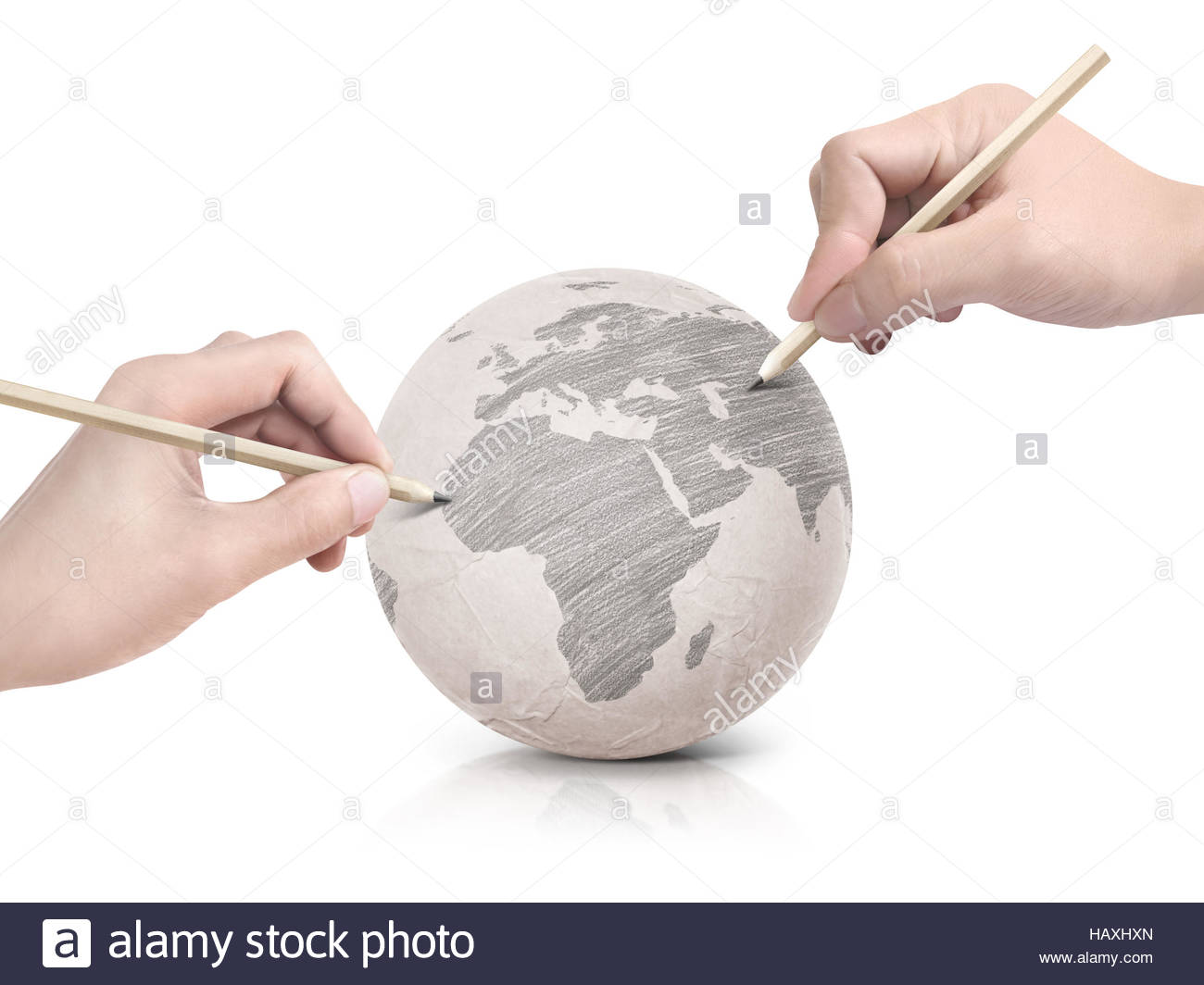 1300x1064 Two Hand Shade Drawing Europe Map On Paper Ball On White