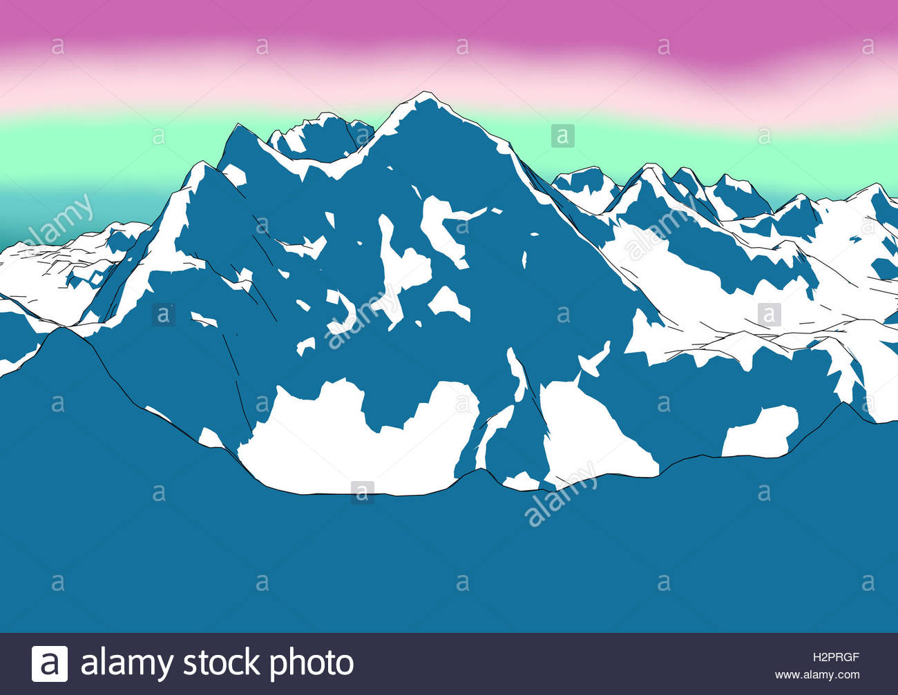 1300x1007 Mount Everest, Relief Height, Mountains, Drawing, Himalayas Stock