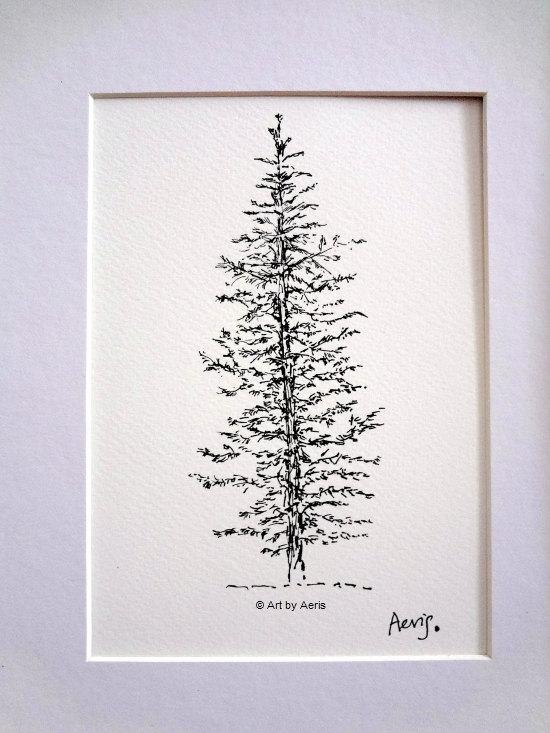 550x733 Evergreen Pine Tree Art, Spruce Tree, Forest, Woodland, Nature