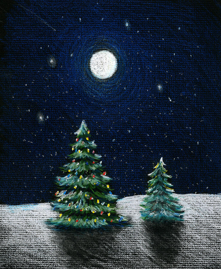 739x900 Christmas Trees In The Moonlight Drawing By Nancy Mueller