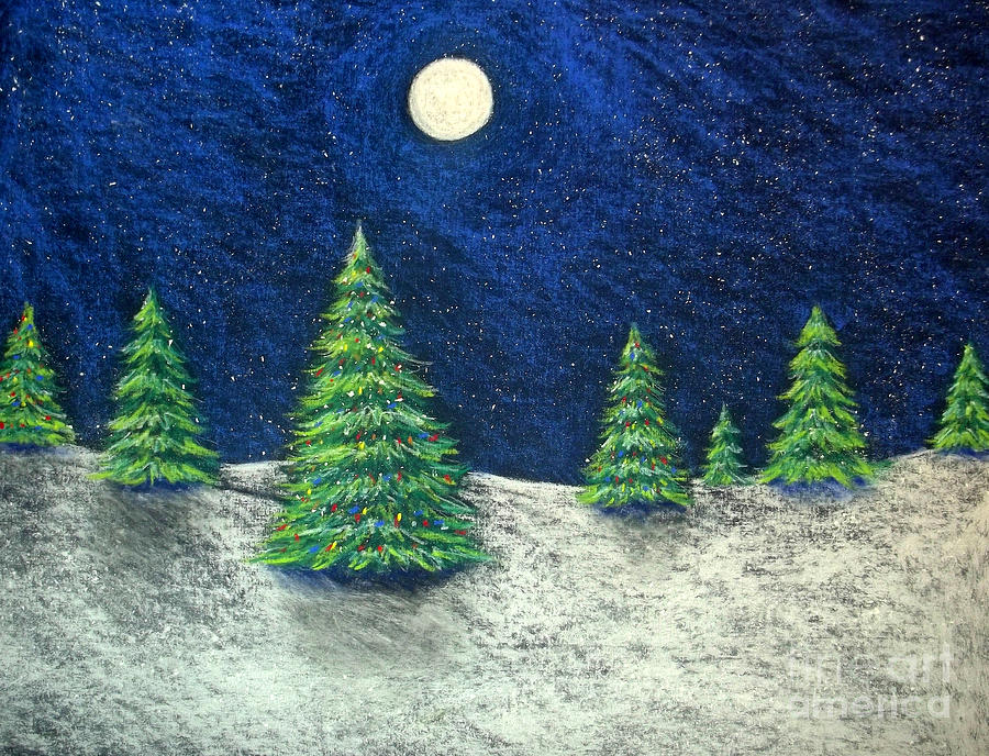 900x688 Christmas Trees In The Snow Drawing By Nancy Mueller