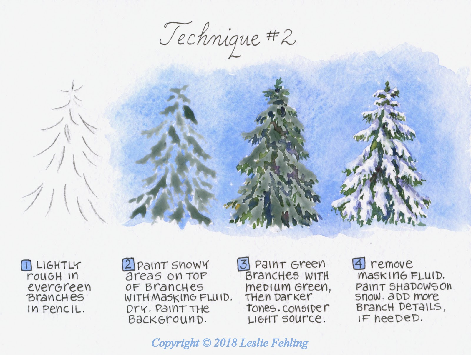 1600x1207 Everyday Artist How To Paint A Snow Covered Evergreen Tree