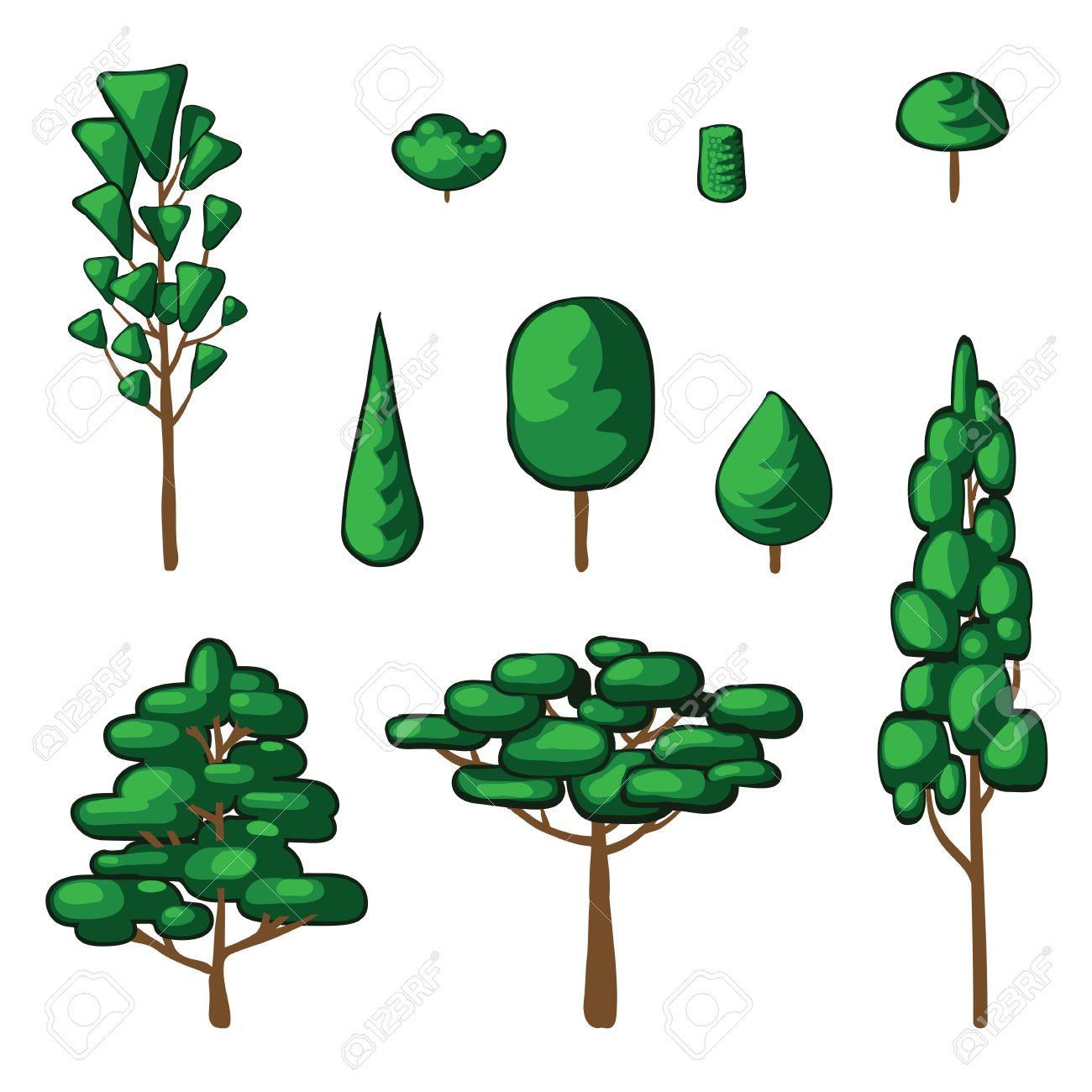 1300x1300 Isolated Vector Plants And Trees. Abstract Simple Drawing Royalty