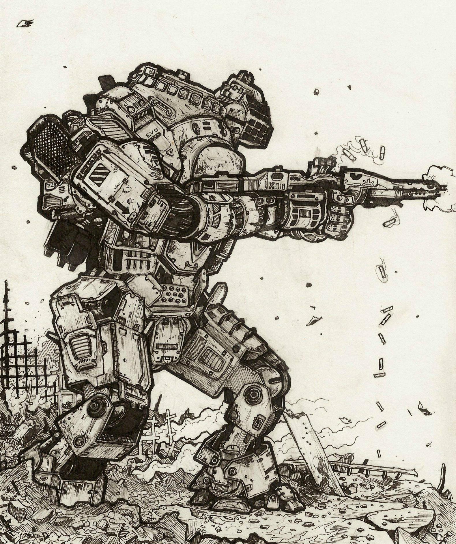 1580x1886 I Decided To Draw One Of The Titans From Titanfall Because I