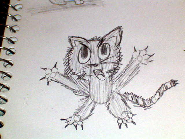 640x480 Evil Cat Drawing By Xpurplemonkeyfanx