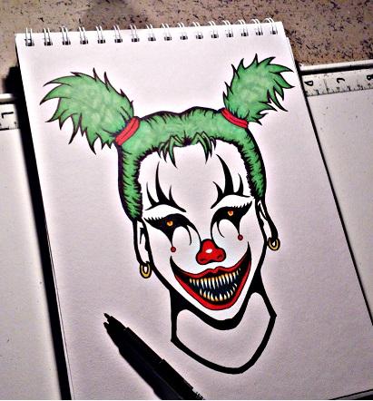 411x442 Evil Clown Girl By Jw2011