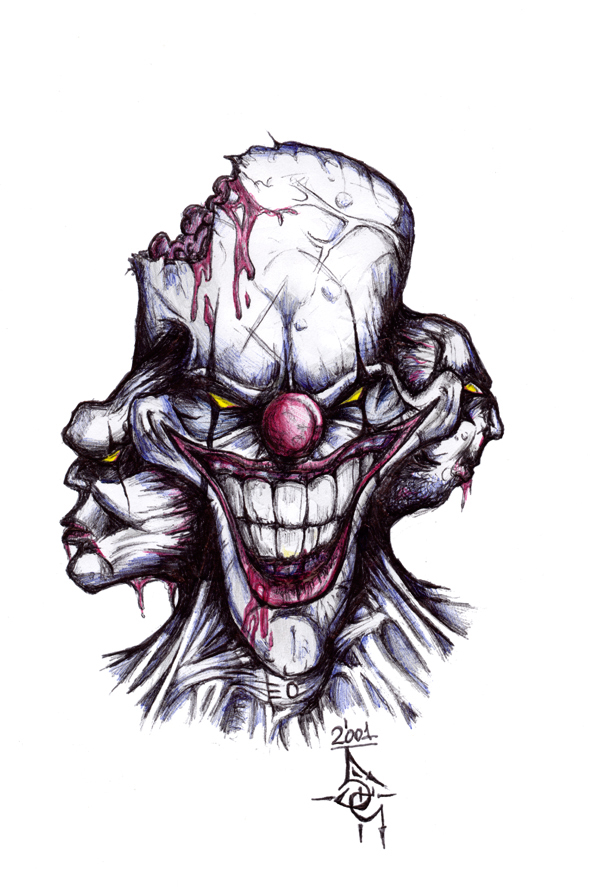 600x887 Evil Clown By Mentalhorror