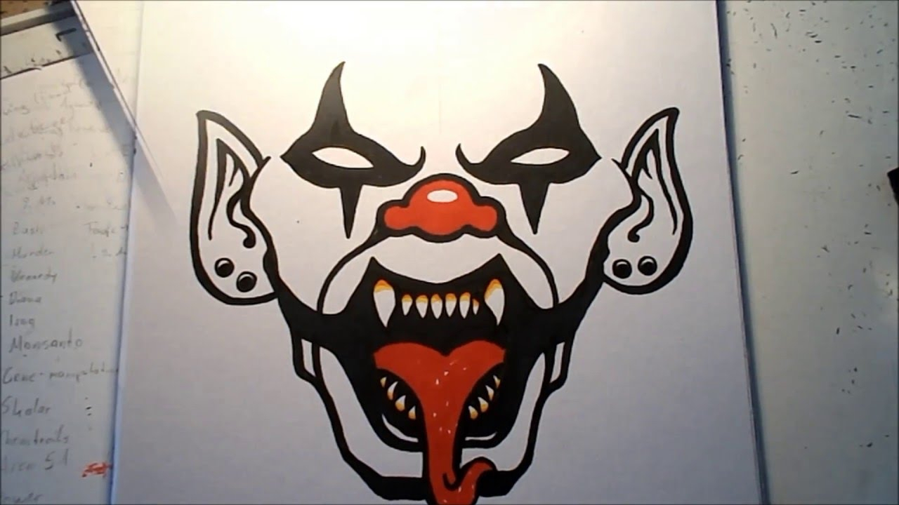 1280x720 How To Draw A Evil Clown Face Step By Step How To Draw An Evil