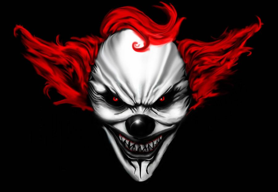900x621 Scary Clown Faces Digital Drawing 50 Scary Clowns That Will