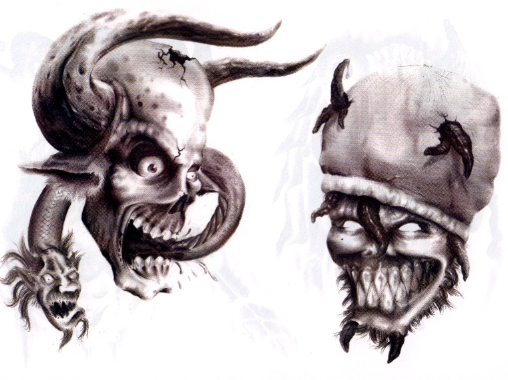 1019x763 Pin Adn Demon Tattoo Design Img53 Skulls Demons Flash Tatto Sets