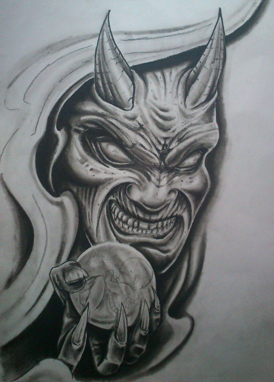 900x1252 Demon By Karlinoboy On Evil Clown Face Tattoos