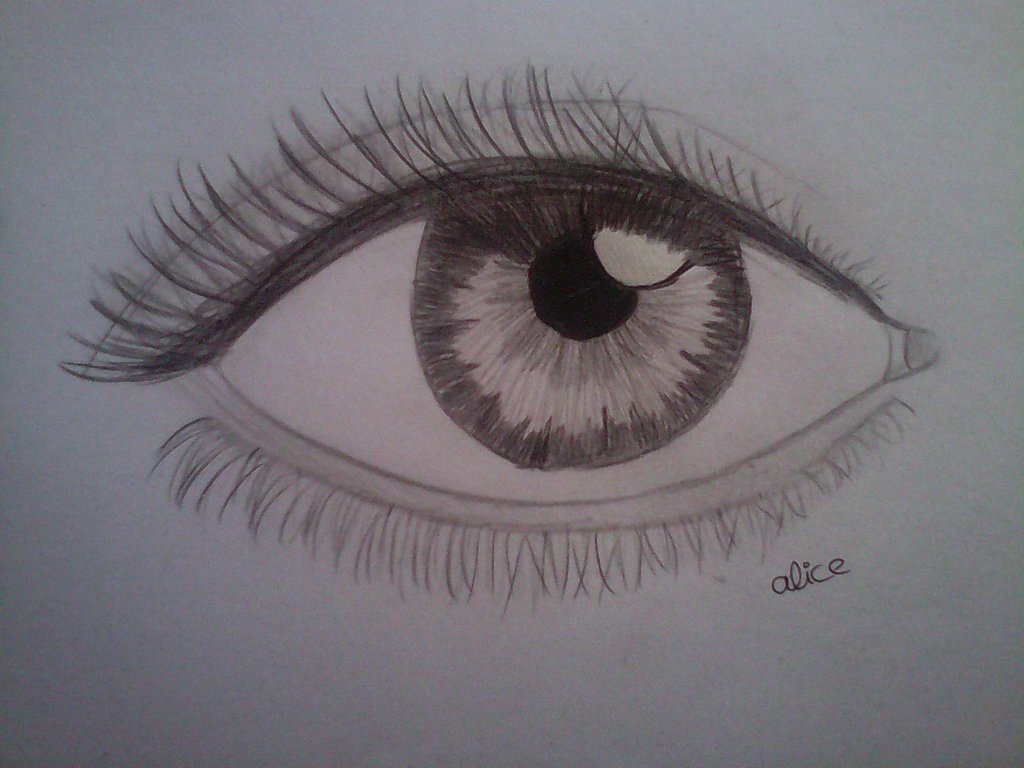 1024x768 Realistic Eye Drawing By Evil Alice8