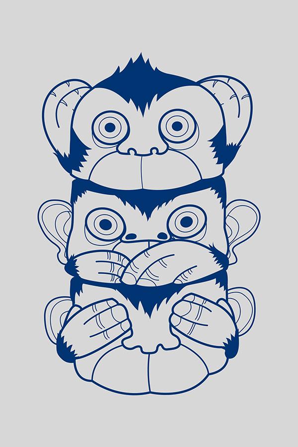 600x900 Sketch Of Hear No Evil See No Evil Speak No Evil Monkeys