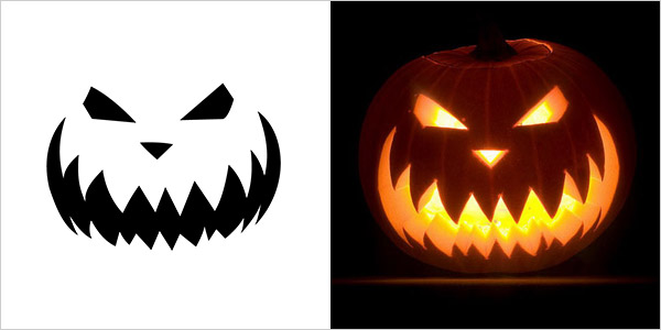 Evil pumpkin drawing at free for for Evil pumpkin face template