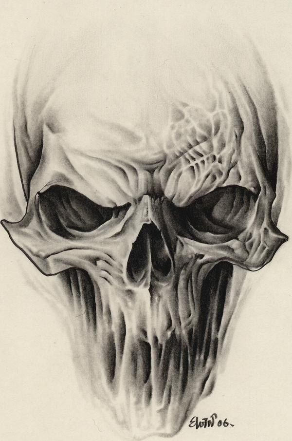 600x905 Alien Skull Tattoo Design