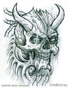 236x307 Evil Skull Drawings Tattoo Art Skull Drawings