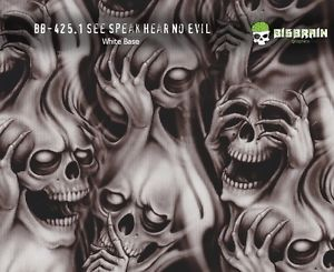 300x245 See Speak Hear No Evil Skulls Hydrographics Film 100cm Big Brain