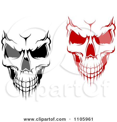 450x470 1105961 Clipart Evil Black And White And Red Skulls Royalty Free