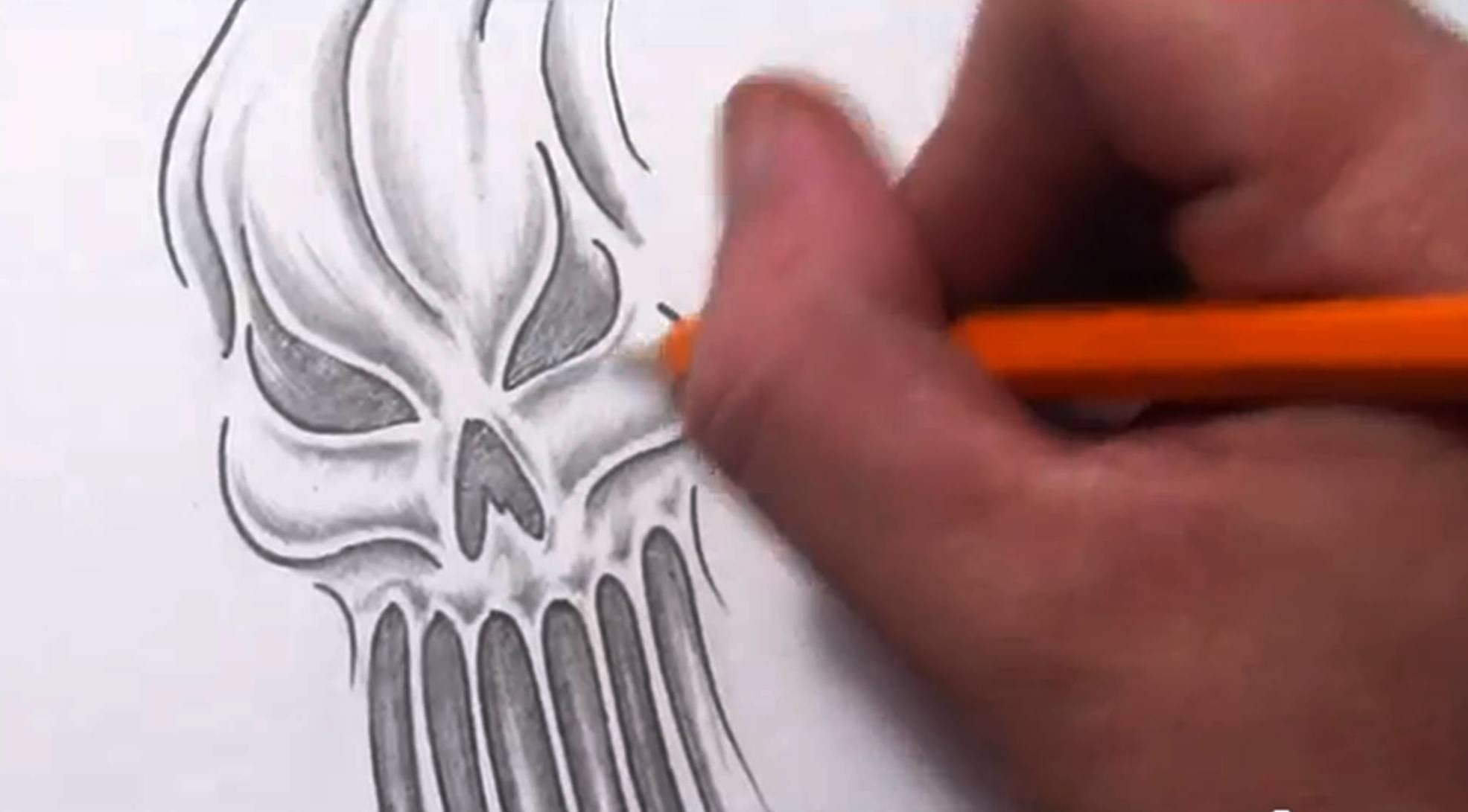 1971x1091 How To Draw An Evil Skull Ghost Or Ghoul