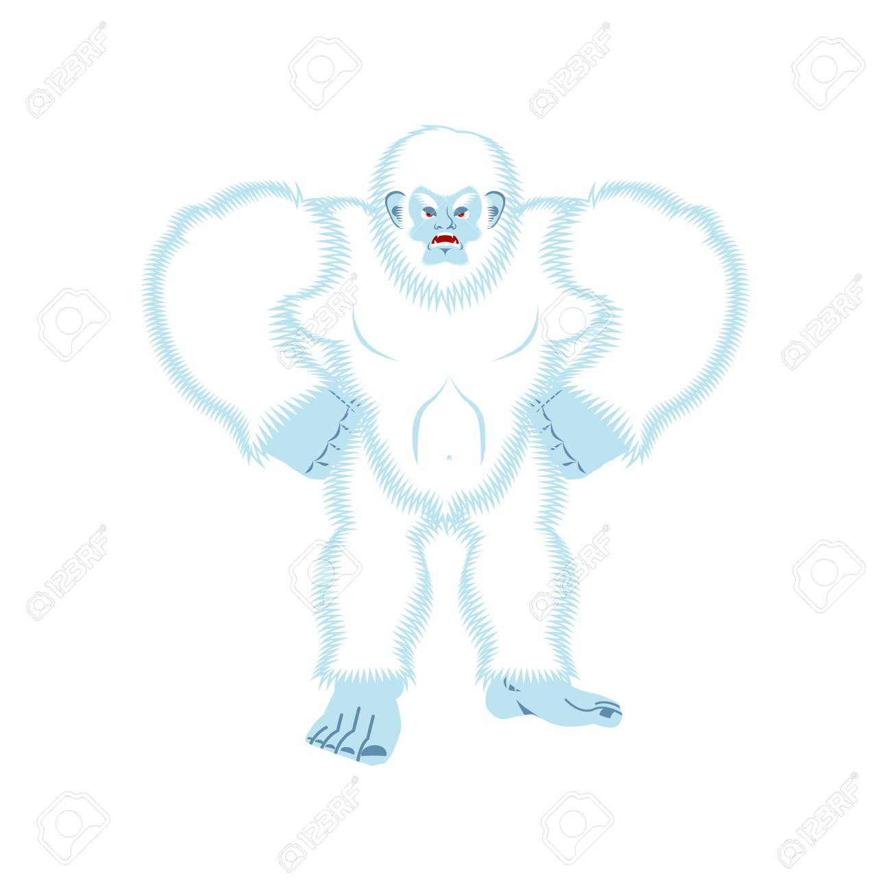 1300x1300 Yeti Angry. Bigfoot Evil. Abominable Snowman Aggressive. Vector