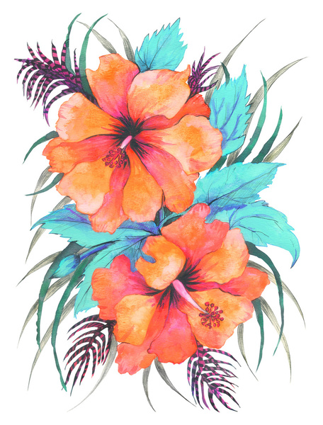 456x600 Tropical Flower {Orange Hibiscus} Art Print By Schatzi Brown