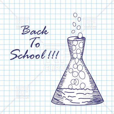 400x400 Doodle Drawing Chemical Flask, Chemistry Experiment Royalty Free