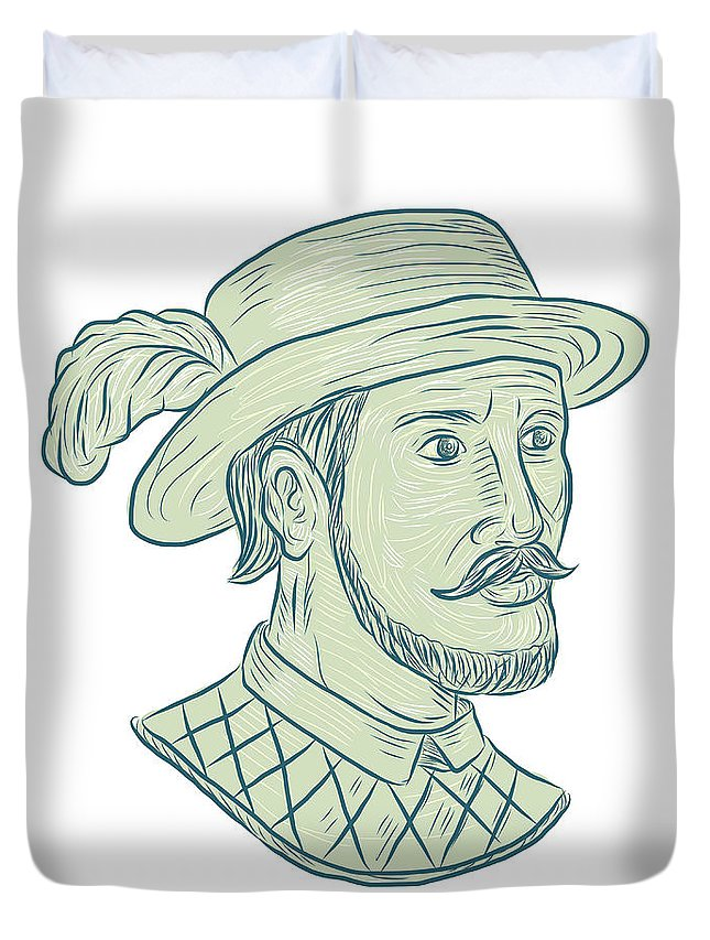 645x853 Juan Ponce De Leon Explorer Drawing Duvet Cover For Sale By