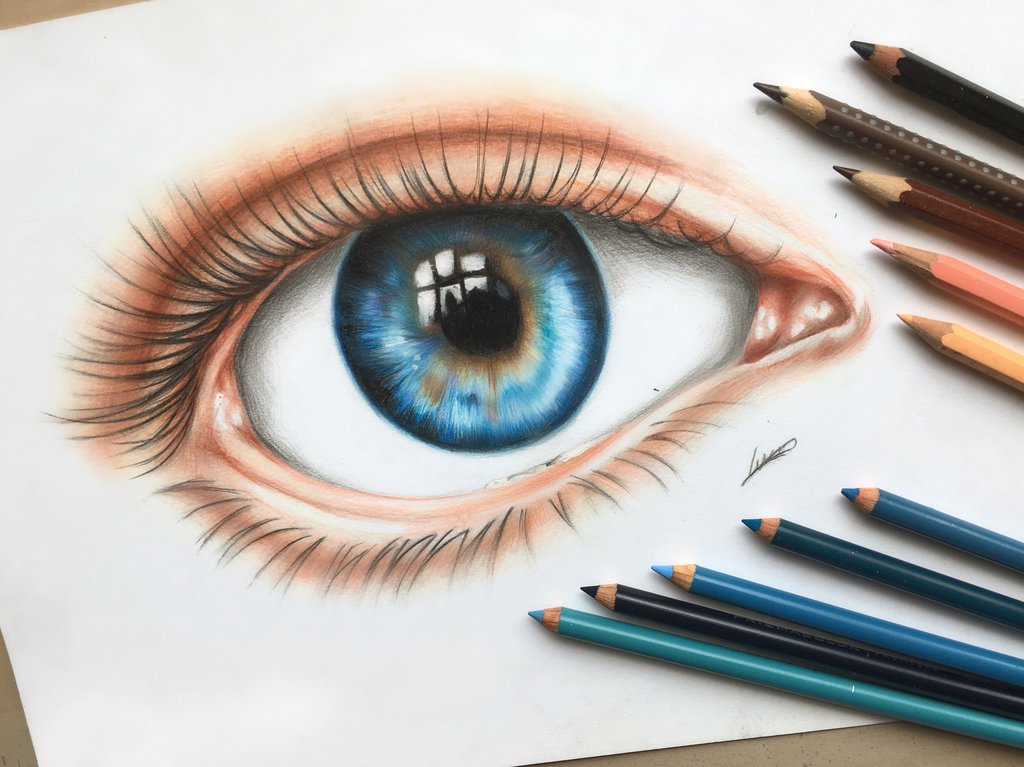 1024x767 An Eye Colored Pencil Drawing By Polaara