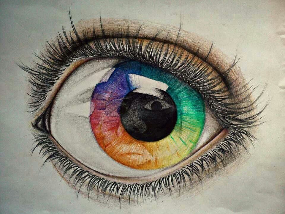 960x720 rainbow eye colored pencil drawing colored pencil drawings