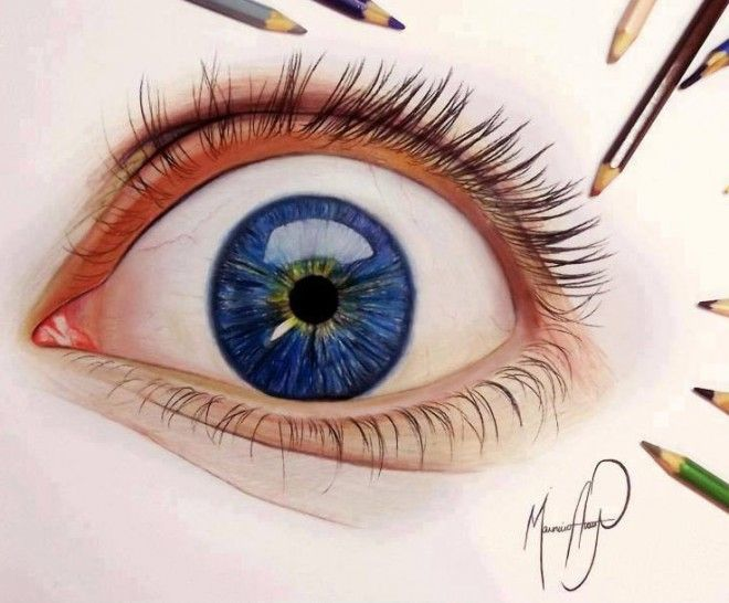 660x546 Real Eye Color Pencil Drawing By