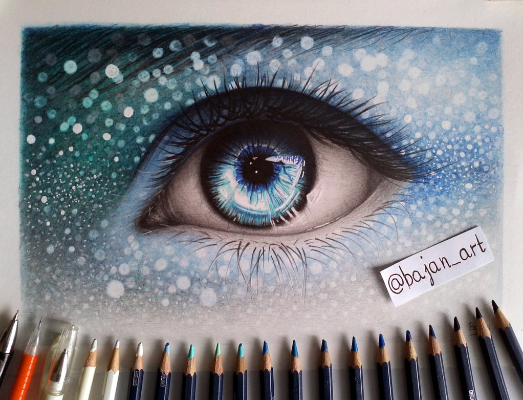 1022x781 Fantasy Eye Drawing By Bajan Art