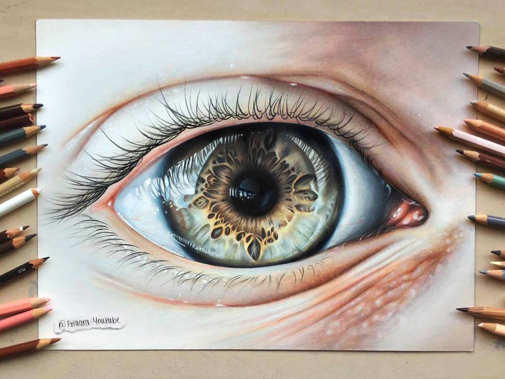 1024x768 Realistic Eye Drawing By Polaara
