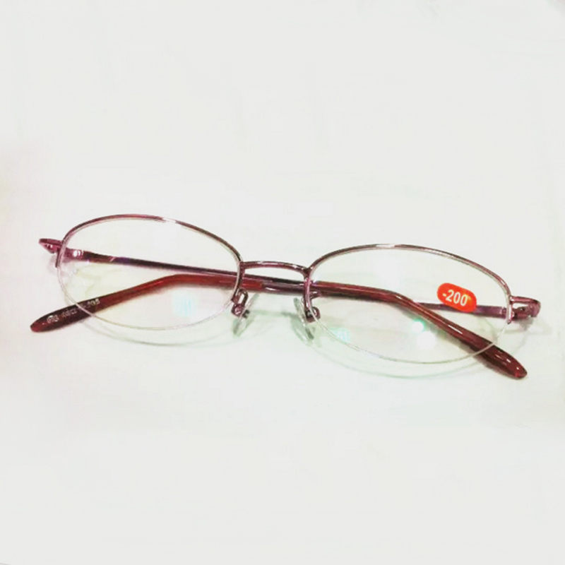 800x800 Oval Half Frame Myopia Glasses Drawing Technology Frame Resin Lens