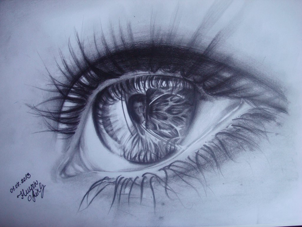 1024x768 Realistic Eye Drawing With Pencil By Huyen Linh