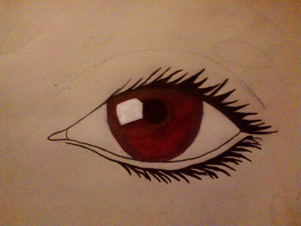 1024x768 Red Eye Drawing By Michael Driver
